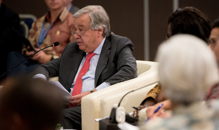 Photo: UN Secretary-General António Guterres speaks at the IMF Development Committee meeting in Bali, Indonesia. Credit: Grant Ellis/World Bank