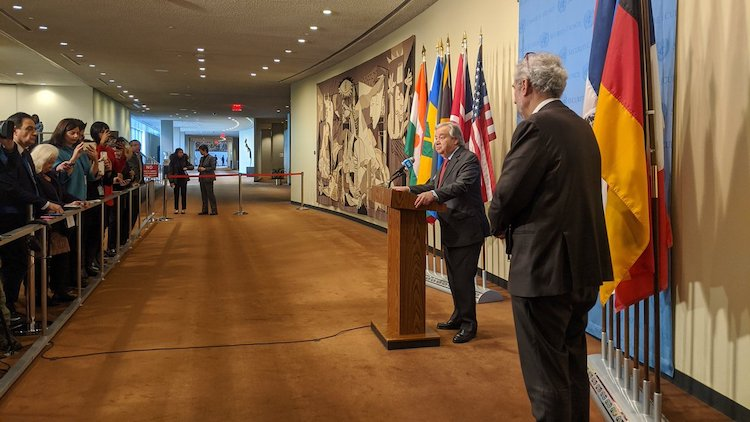 "Photo: UN chief Guterres told the noon stakeout for correspondents at UN Headquarters in New York on January 6, that a ""cauldron of tensions"" could lead  countries to unpredicted decisions with unpredictable consequences. Credit: United Nations."