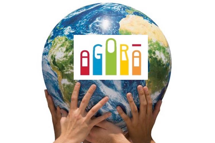 Image: Collage of the Globe in Hands with 'Agora'
