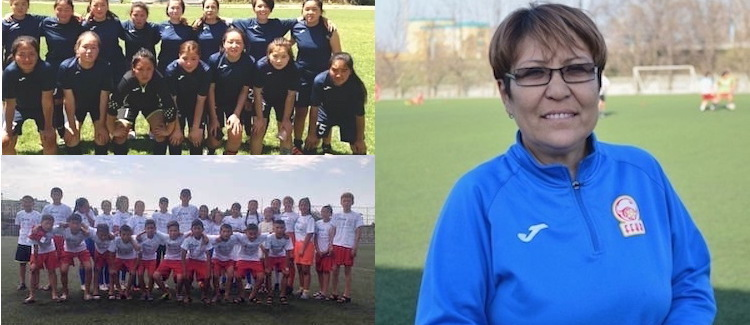 Photo: Team in blue shirts: Girl`s team from Naryn during Female Leage in Bishkek; Team in white shirts: pupils of the youth team of Naryn football department during friendly matches; Gulbara Osmonovna, Kyrgyz National Female team's coach. Crediit: Bagymdat Atabaeva | IDN-INPS
