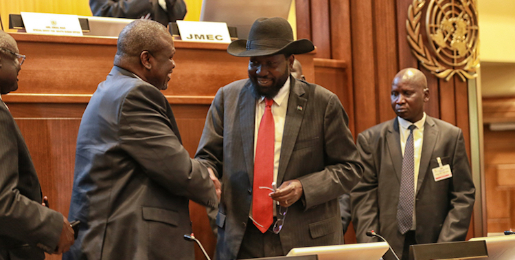 Photo: The leader of the opposition armed forces, the Sudan People's Liberation Movement-in-Opposition (SPLM-IO), Riek Machar, shaking hands with his chief military and political opponent, the President of South Sudan, Salva Kiir to make a fresh joint commitment to peace for the sake of their people. Credit: UNMISS