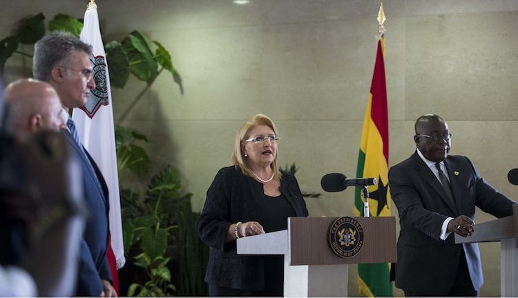 Photo: Marie-Louise Coleiro Preca, President of Malta on a state visit to Ghana in July 2017. Credit: Malta President's Website