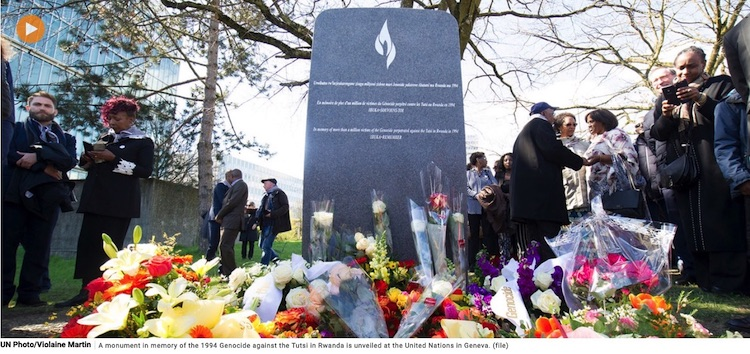Photo: A monument in memory of the 1994 Genocide against the Tutsi in Rwanda is unveiled at the United Nations in Geneva (file). UN Photo / Violaine Martin.