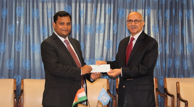 Photo: India makes voluntary contribution for the second consecutive year to UN Tax Trust Fund. 03 July 2018. Credit: UN DESA