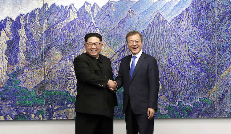 Photo (left to right): North Korea's Kim Jong-Un and South Korean President Moon Jae-in. Source: Wikimedia Commons.
