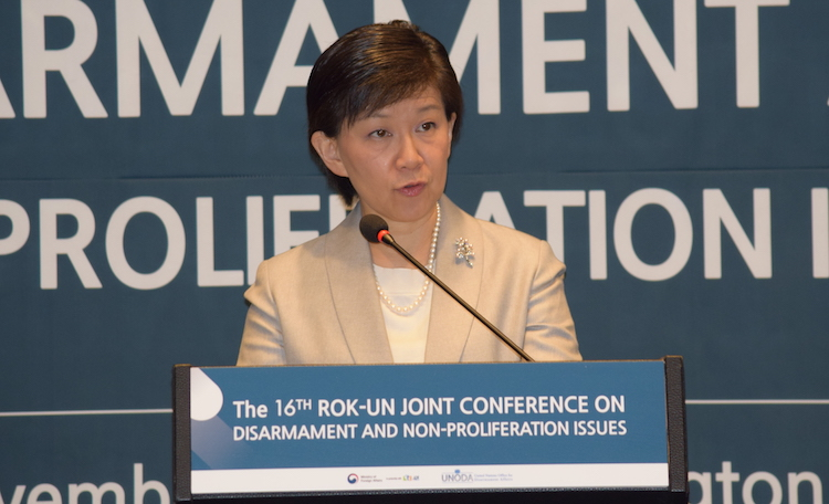 Photo: High Representative Izumi Nakamitsu at the 16th UN-Republic of Korea Joint Conference on Disarmament and Non-proliferation Issues. Credit: UN