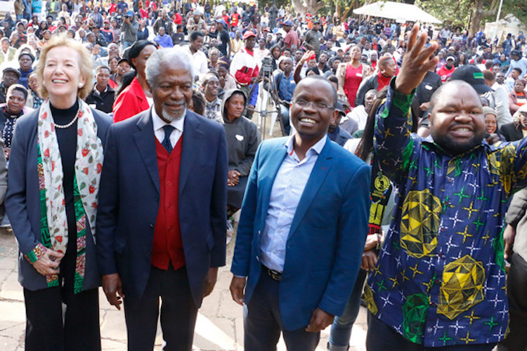 Photo: Mary Robinson and Kofi Annan attend Citizens Manifesto event in Zimbabwe in July 2018. Credit: The Elders