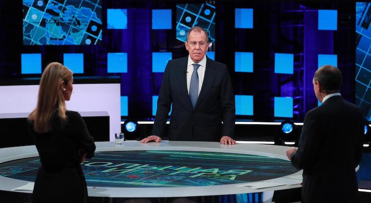 Photo: Russian Foreign Minister Sergey Lavrov answers to questions in The Great Game show on Channel One Russia on December 22, 2019. Source: Russian Ministry of Foreign Affairs.