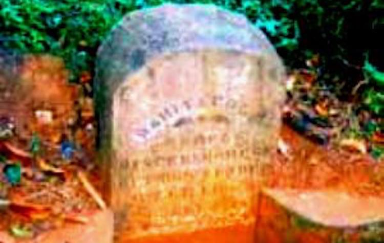 "Photo: A stone memorial ""The rebels were dispersed here"" stands on the Matale-Kandy road till this day. Credit: Matale Rebellion, Ceylon."