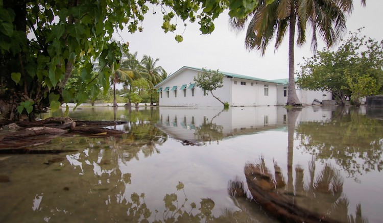 Photo: Beach erosion, flooding, increased groundwater salination of groundwater, and unpredictable weather is already causing both floods and droughts. Photo: UNDP Maldives