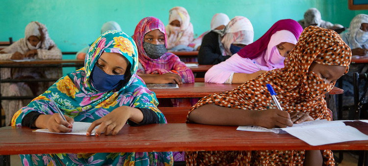 Photo. Mauritanian students return to school after several months of school closures due to COVID-19. Credit: UNICEF/Raphael Pouget