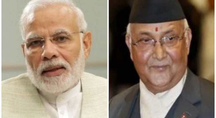 Photo: Indian PM Narendra Modi and Nepal's PM KP Sharma Oli. Credit: ANI