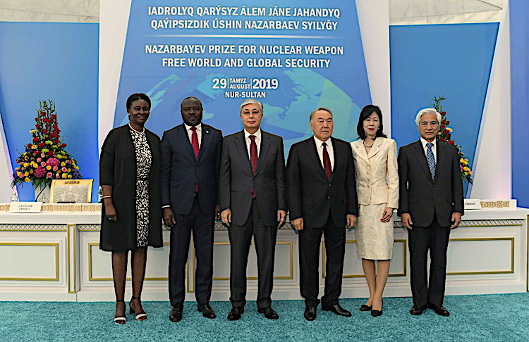 Photo (left to right): Ms Zerbo, her husband Nazarbayev Prize laureate CTBTO Executive Secretary Lassina Zerbo, Kazakh President Tokayev, First President Nazarbayev, Ms Yukika Amano, widow of late IAEA Director General Yukiya Amano, Nazarbayev Prize laureate and his brother Mari Amano. Credit: akorda.kz.