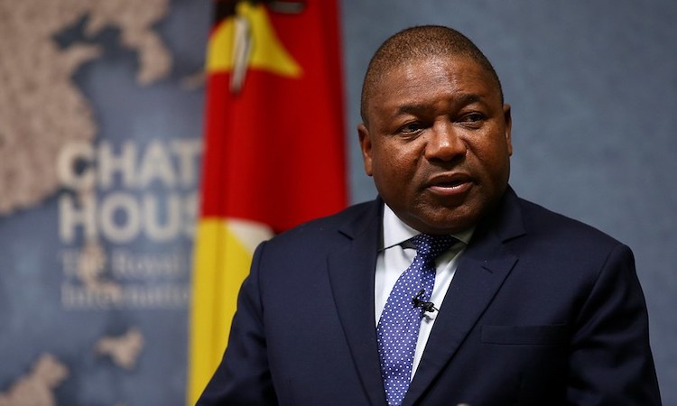 Photo: Filipe Nyusi, President, Republic of Mozambique at Chatham House on 17 April 2018. Credit: Suzanne Plunkett 2018