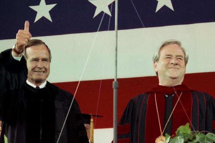 Photo: President George H.W. Bush with Jerry Falwell. Credit: Liberty University