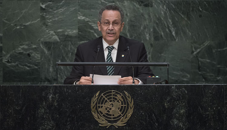 Photo: ACP Secretary-General Dr. Patrick I. Gomes addressing the United Nations Summit for the adoption of Agenda 2030 for global development on 26 September 2015, United Nations, New York. Credit: UN Photo/Amanda Voisard.