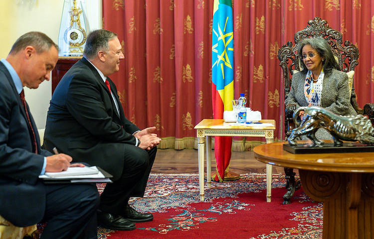 Photo: U.S. Secretary of State Michael R. Pompeo meets with Ethiopian President Sahle-Work Zewde in Addis Ababa, Ethiopia, on February 18, 2020. [State Department Photo by Ron Przysucha/ Public Domain]