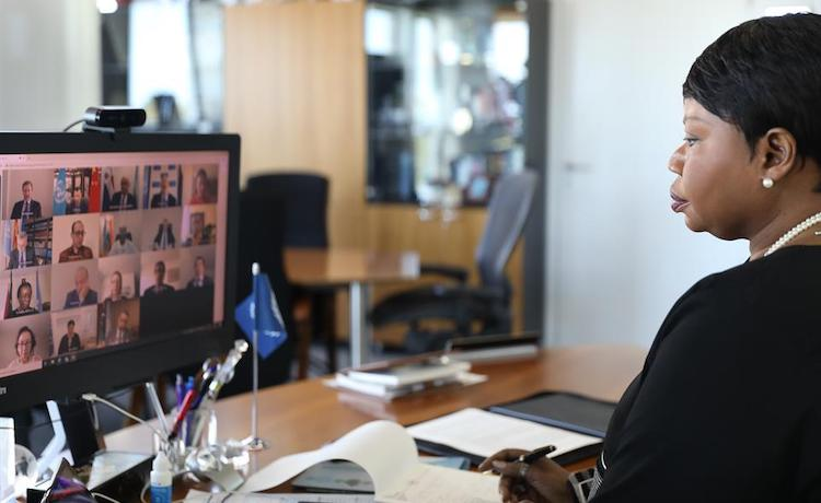 Photo: ICC Prosecutor, Fatou Bensouda, presents her Office's 19th report on the Situation in Libya remotely. © ICC-CPI