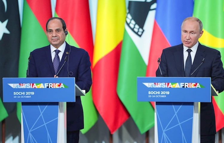 Photo: Statements by Russian Putin and Egyptian President El-Sissi for media. Credit: Roscongress Foundation | Anatoliy Medved.