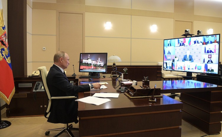 Photo: President Vladimir Putin at the virtual meeting with regional heads on combatting the spread of the coronavirus in Russia. Credit: en.kremlin.ru