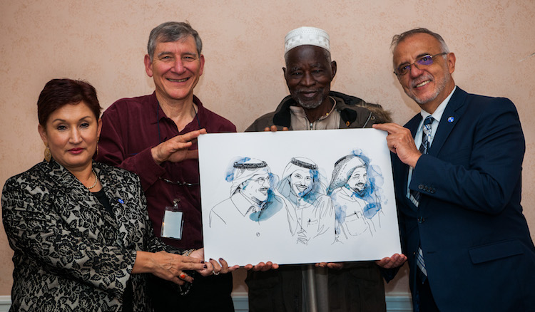 Photo: 2018 Right Livelihood Award Laureates (from left to right): Thelma Aldana (Guatemala), Tony Rinaudo (Australia) , Yacouba Sawadogo (Burkina Faso), and Iván Velásquez (Colombia). They are holding a picture showing the three jailed Laureates from Saudi Arabia, Abdullah Al-Hamid, Waleed Abu Al-Khair and Mohammad Fahad Al-Qahtani. Credit: Right Livelihood Award Foundation/Wolfgang Schmidt.
