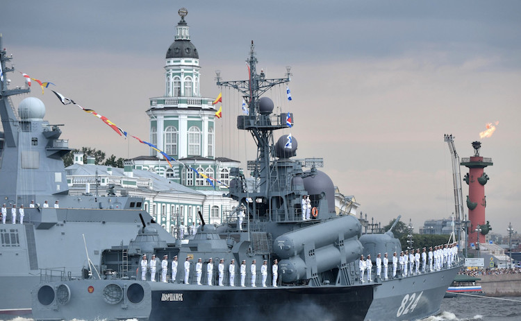 Photo: Ships both old and new displayed their combat power and military might. Credit: Kremlin.ru