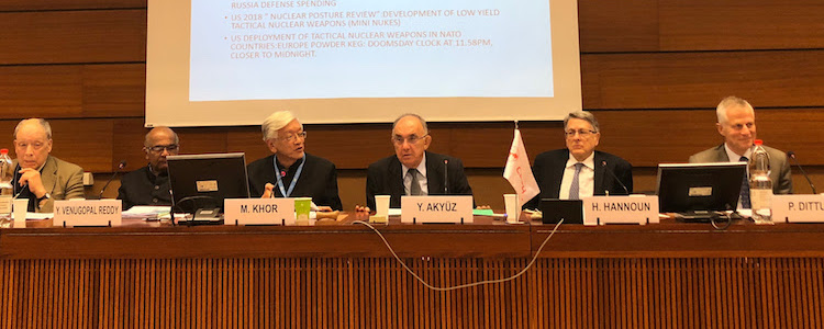 Photo: The panel during the South Centre debate (from left to right): Andrew Cornford, Observatoire de la Finance, Geneva; YV Reddy, South Centre Board Member; Martin Khor, South Centre; Yilmaz Akyuz, South Centre; Hervé Hannoun and Peter Dittus, co-authors of Revolution Required. Credit: South Centre.