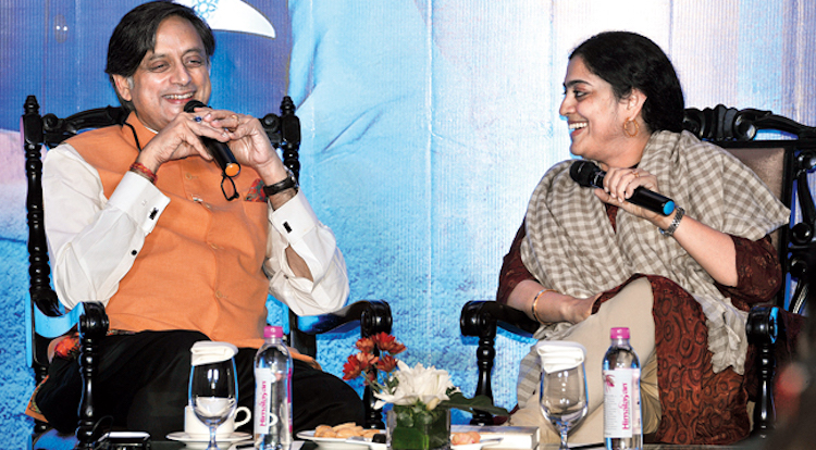 Photo: Shashi Tharoor and Malavika Banerjee at Taj Bengal on December 28, 2017 for the second meeting of Kalam Club, a subscription-based book club that offers its members an opportunity to meet authors. Credit: Pabitra Das