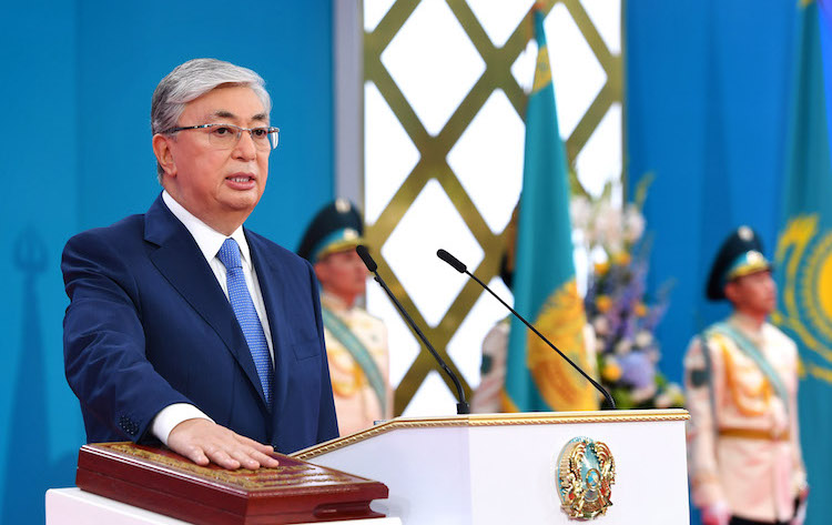Photo: Kassym-Jomart Tokayev was sworn in as elected president on June 12 at the Palace of Independence in the Kazakh capital. Credit: The Astana Times