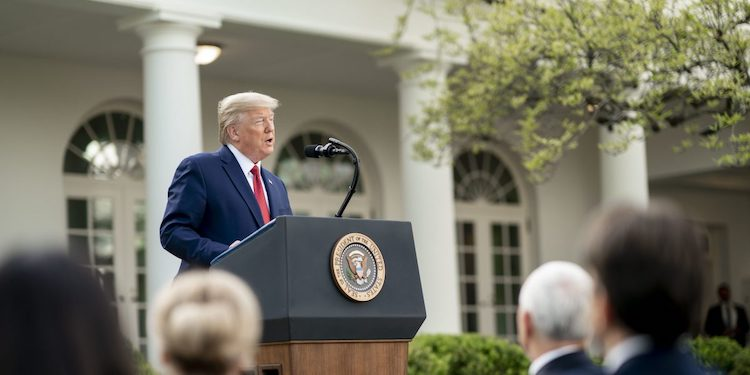 Photo: President Trump addressing a press conference. Credit: The White House.