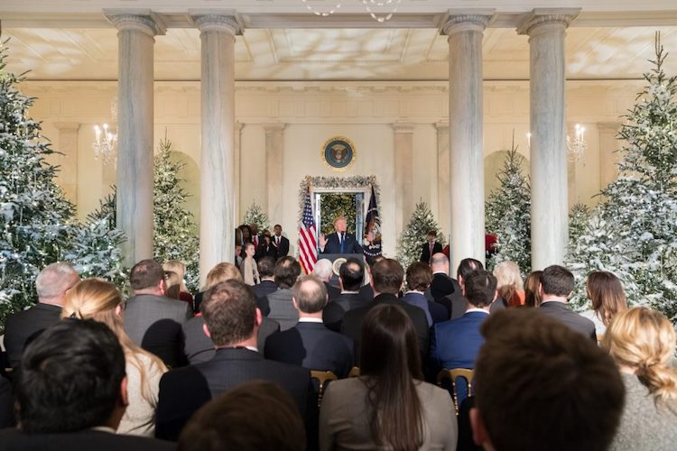 Photo: President Trump delivers remarks on tax reform in the Grand Foyer of the White House on 13 December 2017. Credit: Official White House Photo by Stefanie Chazes.