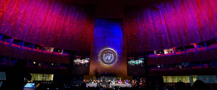 "Photo: UN Day Concert of 2018 entitled ""Traditions of Peace and Non-violence"" featuring Sarod Maestro Amjad Ali Khan with The Refugee Orchestra Project. UN Photo/Loey Felipe"