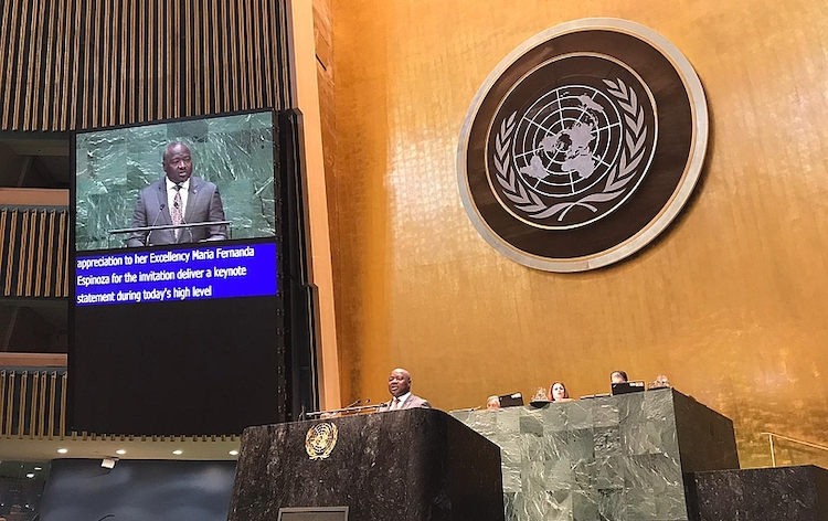 Photo: CTBTO Executive Secretary Lassina Zerbo addressing UN General Assembly High-Level Meeting on 9 September 2019 to commemorate and promote the International Day against Nuclear Tests (29 August). Credit: CTBTO