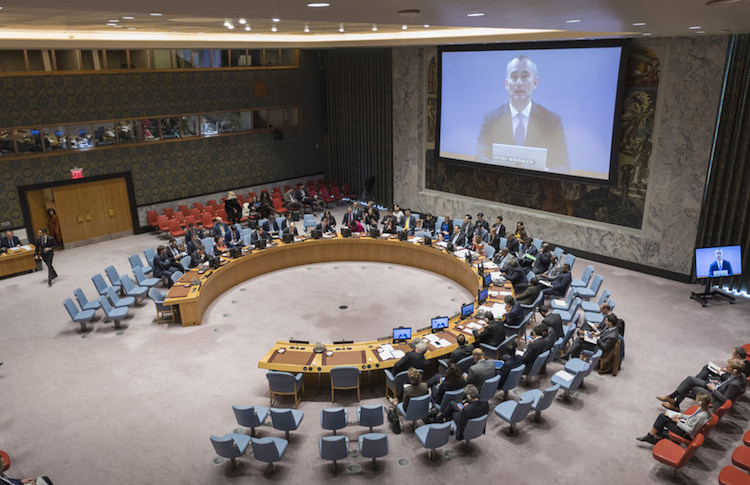 Photo: Nickolay Mladenov (on screen), the UN Special Coordinator for the Middle East Peace Process, briefs the Security Council. UN Photo/Rick Bajornas