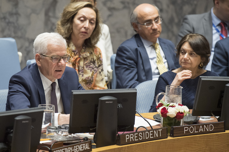 Photo: Jacek Czaputowicz (left), Minister for Foreign Affairs of Poland and President of the Security Council for the month of May, chairs the Security Council meeting on 29 May 2018. At right is Rosemary A. DiCarlo, Under-Secretary-General for Political Affairs. Credit: UN Photo/Eskinder Debebe.
