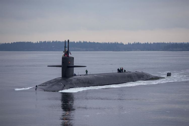 Photo: The Ohio-class ballistic missile submarine USS Pennsylvania transits the Hood Canal as the boat returns to its homeport at Naval Base Kitsap-Bangor, Wash., Dec. 27, 2017, following a routine strategic deterrent patrol. Pennsylvania is one of eight ballistic missile submarines stationed at the base, providing the most survivable leg of the strategic deterrence triad for the United States. Navy photo by Petty Officer 1st Class Amanda R. Gray