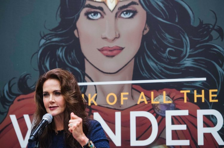 "Photo: Lynda Carter, star of the TV show ""Wonder Woman"" from 1975 to 1979, at the launch of a campaign for the United Nations Sustainable Development Goals. Credirt: AMANDA VOISARD/UN PHOTO"
