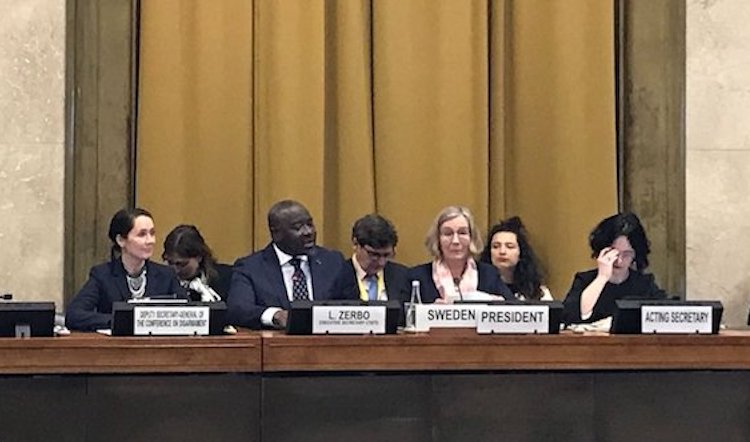 Photo: CTBTO Executive Secretary Dr. Lassina Zerbo addressing the UN Conference on Disarmament on 26 February 2018. Credit: Kazakh Mission in Geneva.